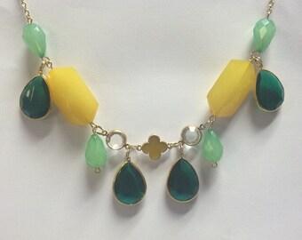 Emerald Lemon Statement Necklace