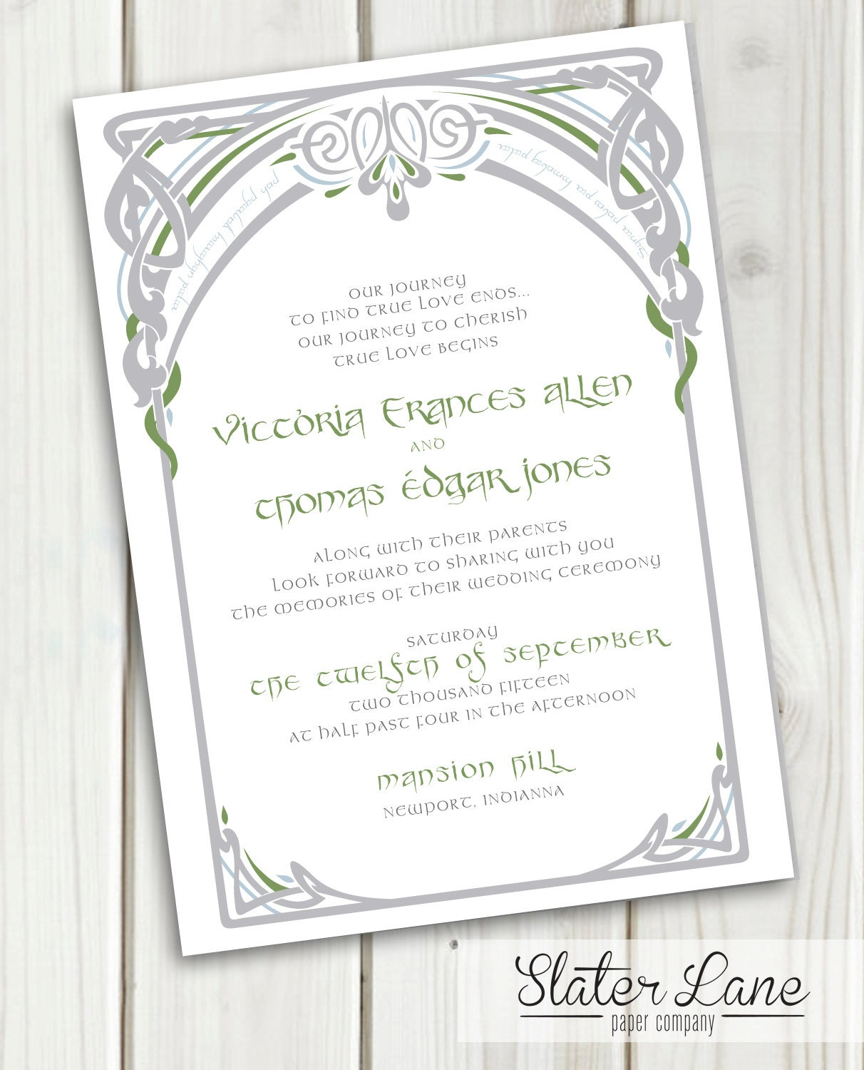 Lord Of The Rings Wedding Invitation DIY Printable LotR