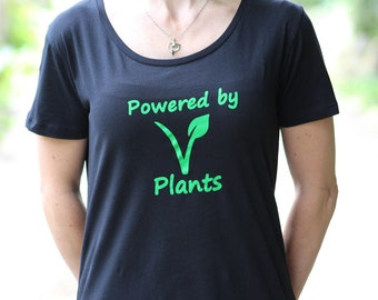 Womens - Vegan Eco-Friendly 'Powered By Plants'  Fairtrade Organic Cotton T-Shirts