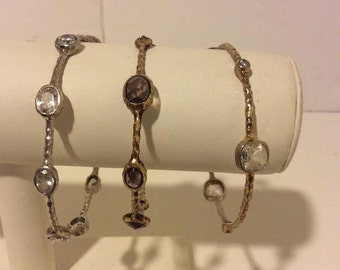 Gold bronze and silver sterling silver vintage set of 3 bangles
