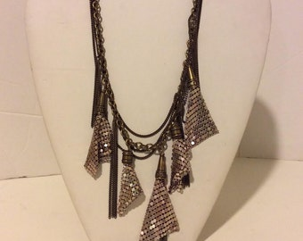 Bronze and pink multi layer elegant drop statement necklace