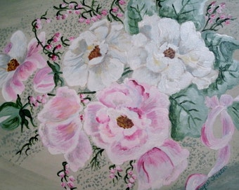 Floral Bouquet Painting, original fine art realism roses french country home decor decorative painting botanical flower garden cottage chic