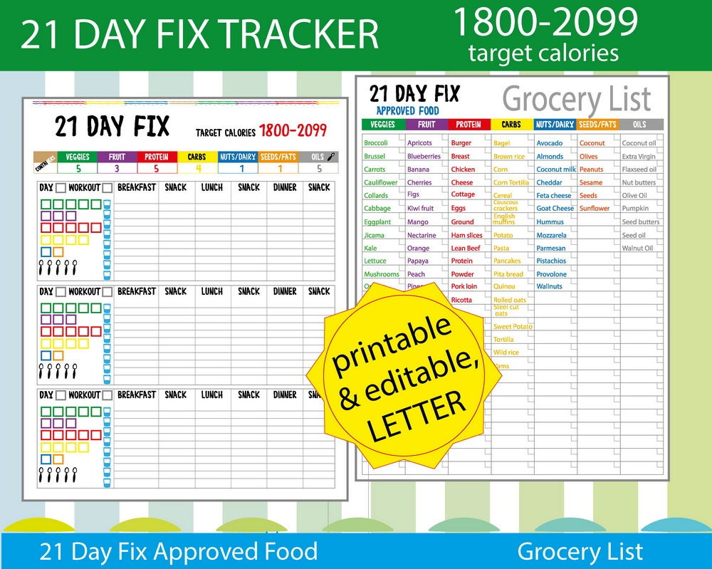 21 Day Fix Tracking Sheet 21 day fix Log by ...