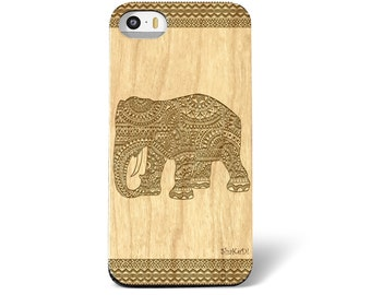 Laser Engraved Tribal Aztec Mandala Doodle Zentangle Inspired Hindu Elephant on Wood Cellphone Case iPhone 5s 6/S and 6 plus IP-029