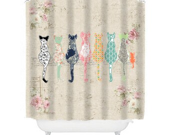 Cat Shower Curtain Shabby Chic Shower Curtain Cats Shower Curtain Shabby Chic Bathroom Decor Cat