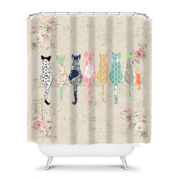 Cat Shower Curtain Shabby Chic Shower Curtain Cats Shower