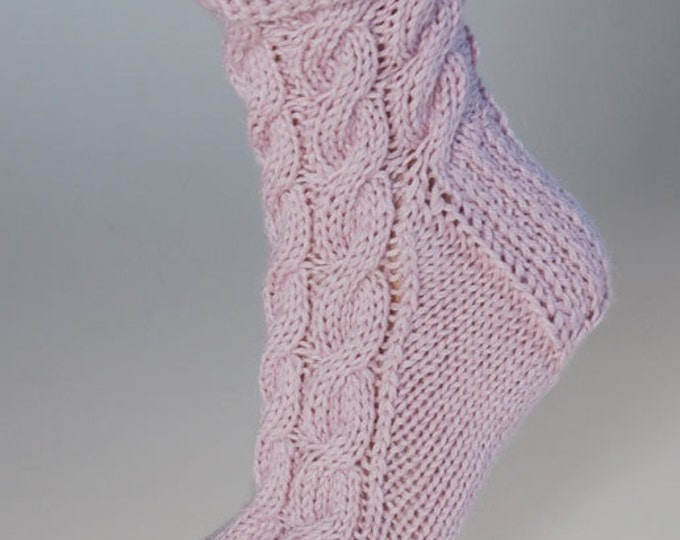 Ladies luxury pink alpaca & mulberry silk handmade cable bed socks by Willow Luxury