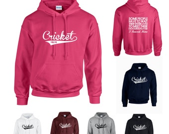 Cricket Mum Adults Hoodie Hooded Sweatshirt - Funny/Sport/Support/Superfan- Print on Front and Back