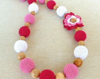 "Nursing necklace/ Teething necklace/ Breastfeeding necklace / Babywearing necklace ""Vermilion flower"""