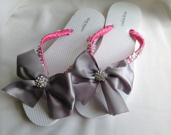 Hot Pink Satin Bow Bridal Flip Flop, Bridal Satin Bow Sandals, Braidsmaid Flip Flops, Beach Wedding Sandals, Wedding Flip Flops