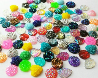 100pcs Cabochon Sampler Package Druzy Cabochons Resin Kawaii Embellishments Jewelry Rhinestone Earring Scrapbooking Hairclips Bezel Glass