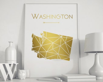 Washington state art Washington map Washington state print Washington wall art Gold art USA art Printable Map home decor art print Geometric