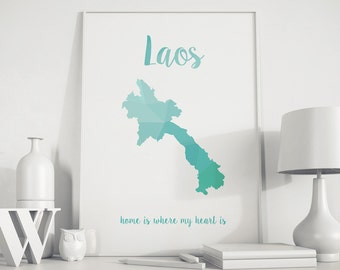 Laos map, Laos art, Laos wall art, Laos print, Laos poster, geometric print, turquoise art, home wall art, Polygon art, nursery wall art