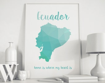 Ecuador map, Ecuador print, Ecuador art, geometric print, turquoise art, home decor, Polygon art, nursery wall art, Ecuador poster, home art