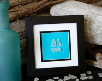 Sea Glass Art - Beach Decor - Nautical - Beach House - Nautical Decor - Sail Boat - Glass Art - Home Decor - Sail Boat - Seaglass
