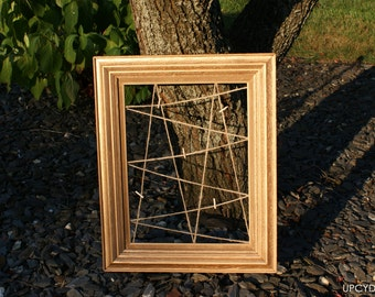 Vintage Upcycled Gold Picture Frame with Twine Lines & Clothes Pins - Picture Frame, Wood Picture Frame, Unique Home Decor, Wall Decor