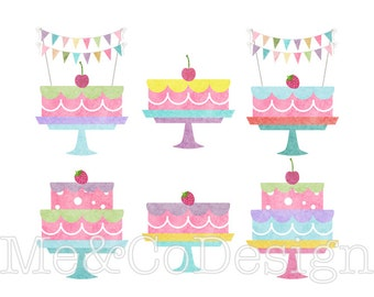 Birthday Cakes Clipart, Clip art for scrapbooking, invitations, Instant Download, Personal and Commercial Use Clipart, Digital Clip Art