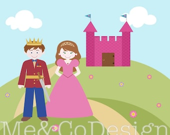 Fairytale Kids Clipart, Fun Cute Clipart, Prince & Princess, Castel Instant Download, Personal and Commercial Use Clipart, Digital Clip Art