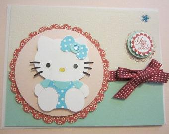 You Make Me Smile Hello Kitty Card