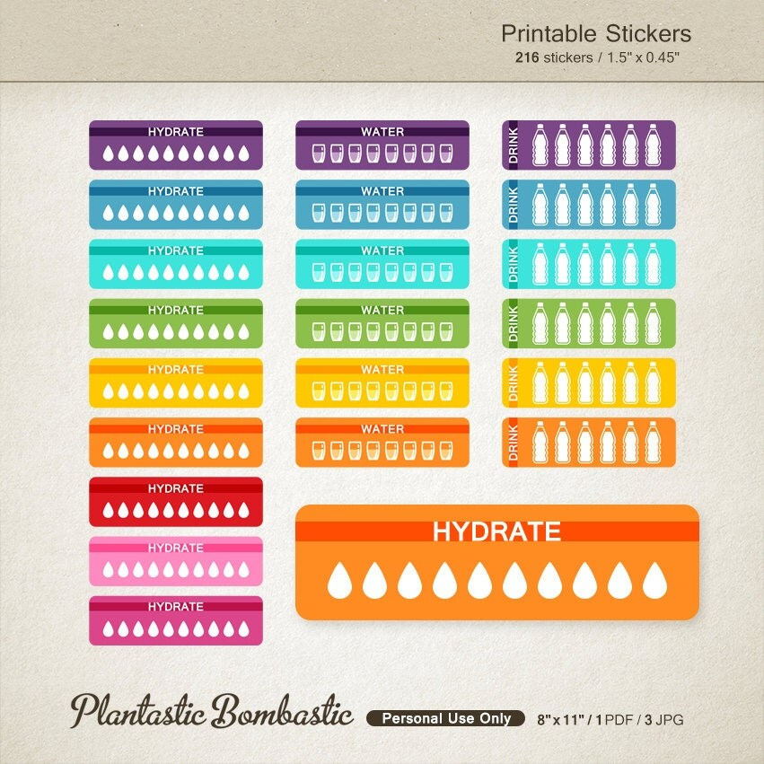 Hydrate Stickers Life Planner Stickers Reminder Stickers Drink