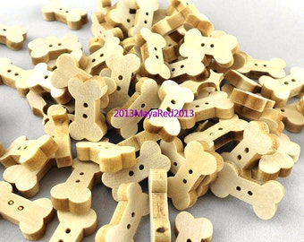 100PC wooden sewing buttons Bone Shaped DIY craft