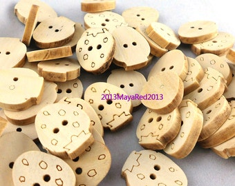 100PC wooden sewing buttons Strawberry Shaped DIY craft