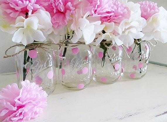 mason jar centerpieces baby shower mason jars pink polka dots mason