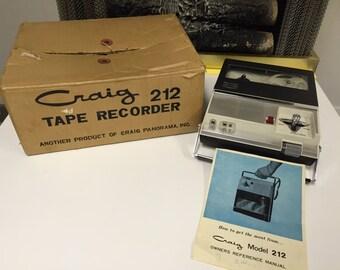 Vintage 1960's Craig 212 Tape Recorder with Original Box