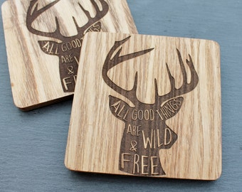 All Good Things are Wild and Free - Stag Head Antler Coaster Laser Engraved Wooden Rustic Decor Scottish