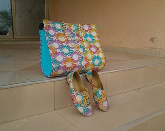 Handmade African Print Handbag and Matching Oxford Flats