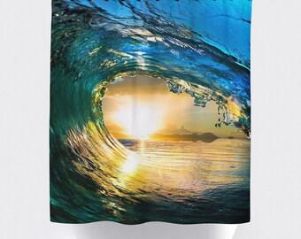 Ocean wave shower curtain, Bathroom shower curtains, bathroom curtain, home decor, bathroom decor, surfing,sunset curtains, ocean curtains.