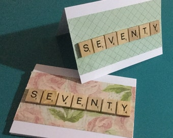 70 Birthday Card - scrabble