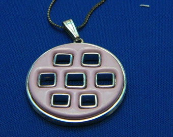 Vintage Funky Lavender Purple w/ Square Cutouts Silver Plated Necklace