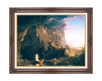 Framed Christian Art The Voyage of Life Childhood Thomas Cole Religious Canvas Wall Artwork Print - Realism - Sizes Small to Large - M00639