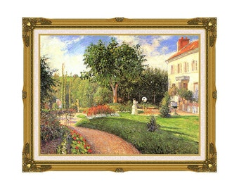 The Garden of Les Mathurins at Pontoise Camille Pissarro Framed Art Print Canvas Painting Reproduction - Sizes Small to Large - M00054