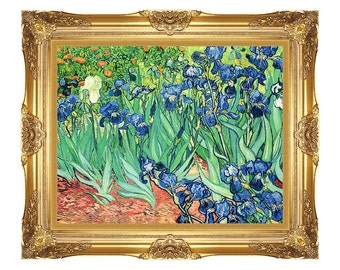 framed art print vincent van gogh irises canvas wildflower painting small to large sizes