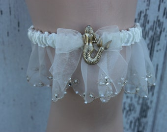 Gold Mermaid Beach Inspired Bridal Wedding Garter / Destin