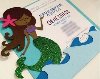 Handmade Mermaid Birthday Invitation; Mermaid and Pirate Party Invite