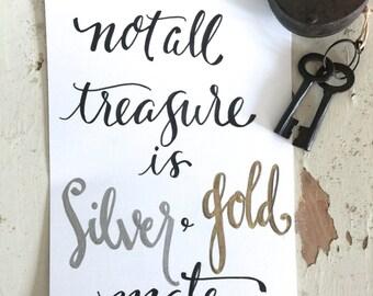 Hand Lettering Foiled Prints Unique By Summervilleshoppe
