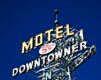 Route 66 Decor Retro Neon Sign Sign Photography Motel Downtowner Neon Sign Vintage Motel Sign Typography Travel Photography Neon Motel Sign
