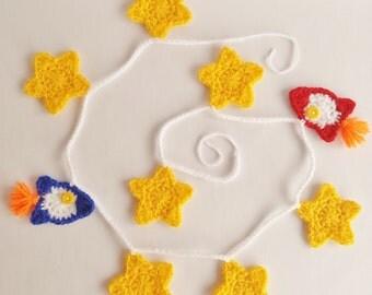 Rocket and Stars Garland / Crocheted Garland / Rockets / Stars / Acrylic Yarn / Ready To Ship