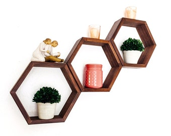 Honeycomb Shelves- Hexagon Geometric Shelf Set - Custom Made in Your Choice of Stain Color