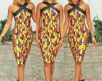 Fitted Wax Cross Front Dress, Wax Print Dress, African wedding dress, African party, midi dress, Ankara dress, party dresses, classy dresses