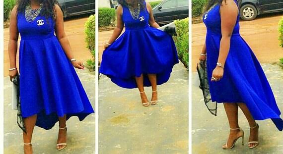 Electric Blue Wedding Guest Dresses : Blue flare dress evening wedding guest