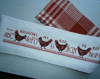 Pullets in counted point / counted thread embroidery: hens