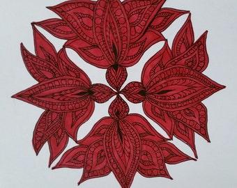 For Meghan O. Red Lotus Mandala