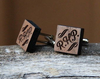 Personalized Wood Cufflinks - Groomsmen gifts, Weddings, Gifts for Men - Custom Cuff Links - Walnut