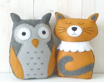 Owl & Cat Stuffed Animal Patterns, The Owl and The Pussycat, Felt Cat Owl Plushie Patterns, Yellow Grey, PDF Sewing Patterns