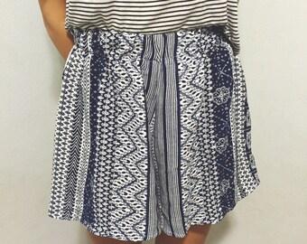 Blue tribal print shorts