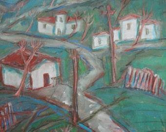 Vintage landscape gouache painting signed